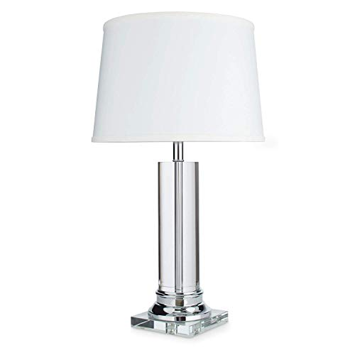 Modern Table Lamp Suitable for Side, End, Coffee Tables and Nightstands. Round Column Lamp Provides Soft Lighting. Glass Crystal Base, White Shade and Chrome Accents Combine to Create Elegant - Column Lamps Chrome Table