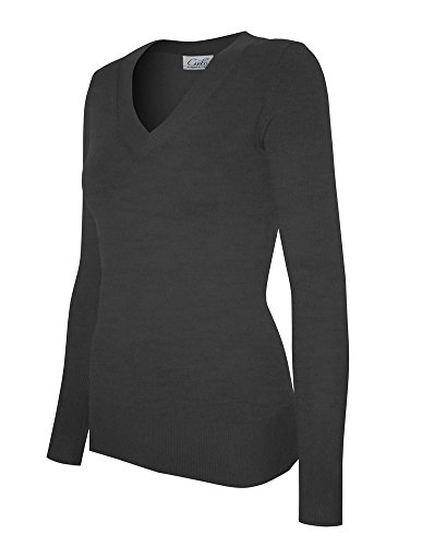 Cielo Women's Solid Basic Soft V-neck Stretch Pullover Knit Sweater Charcoal Grey XL