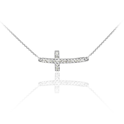 14k White Gold Diamond Sideways Cute Curved Cross Necklace (20 Inches) by Sideways Crosses