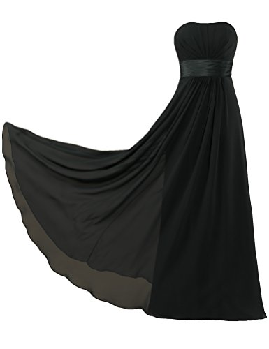 Bridesmaid Long Chiffon Dresses Strapless ANTS Women's Prom Black Gown CqxwB6PA6t