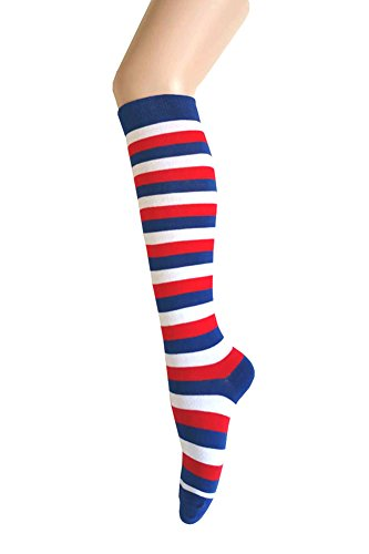 Triple M Plus Knee High Zebra Stripes Socks,Blue/Red/White -