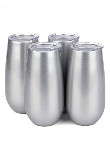 SUNWILL Champagne Flutes Insulated Toasting Glasses 4pack, Double Wall Stemless Wine Champagne Tumbler with Lid, Reusable Cups for Cocktail, 6oz Silver