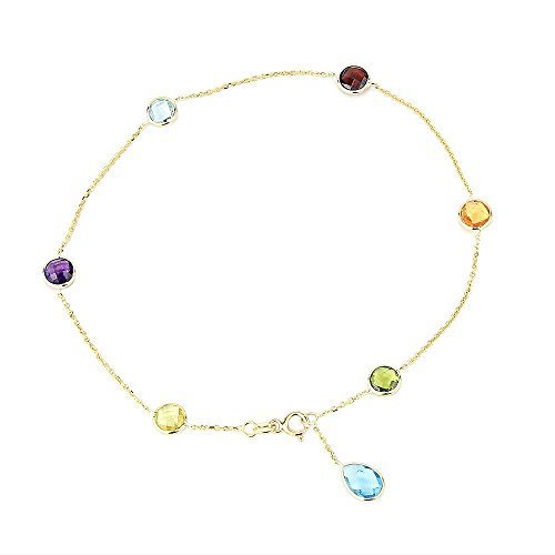 14K Yellow Gold Gemstone Anklet Bracelet With A Blue Topaz Drop 9 -11 Inches by amazinite
