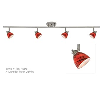 red track lighting. 4-Light Fixed Track Lighting Kit In Brushed Steel With Red Shade D168-44 W