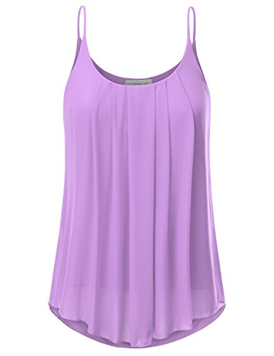 (JJ Perfection Women's Pleated Chiffon Layered Cami Tank Top Lavender S)