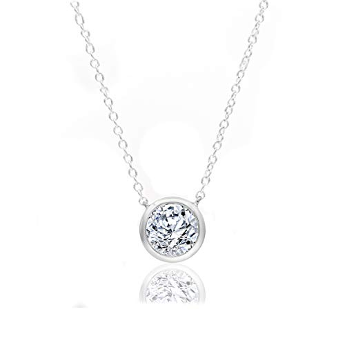 (1/4 Carat Natural Diamond Necklace 10K White Gold (H-I Color, I2 Clarity) Halo Diamond Necklace for Women Diamond Jewelry Gifts for Women )