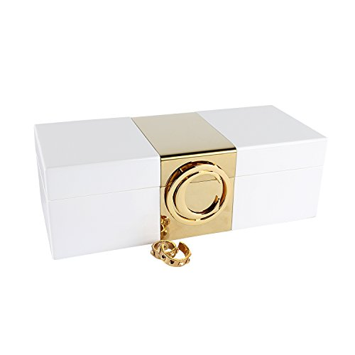 A Comely Lacquer Initial Personalised Jewelry Box Monogram High Gloss Wooden Accessories Storage Organizer Case (White, C)
