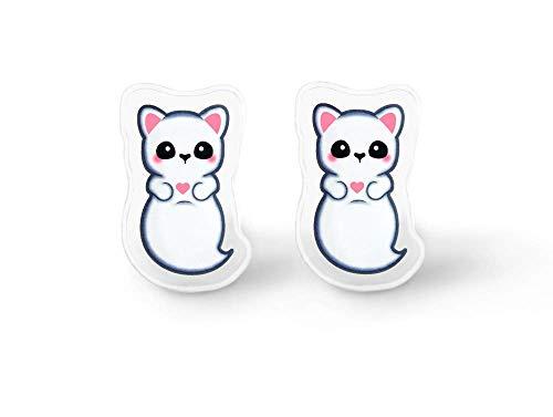 Kawaii Ghost Cat Earrings