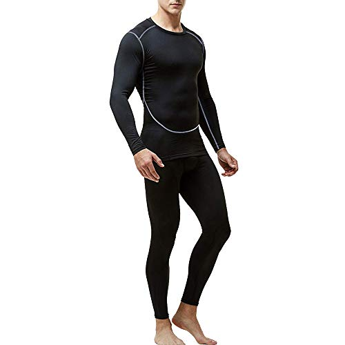 (Men's Thermal Underwear Set, Base Layers Winter Sports Gear Compression Long Johns for Men - Long Sleeve Tops & Pants (Black, M))