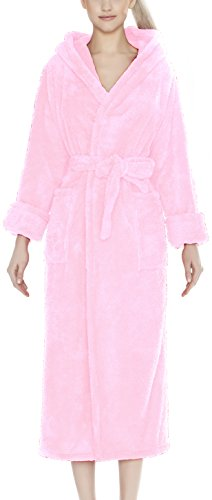 m.Lyra Damen Nachtwäsche Bademantel mit Kapuze MIA Lang Übergrößen (rosa, 3XL)