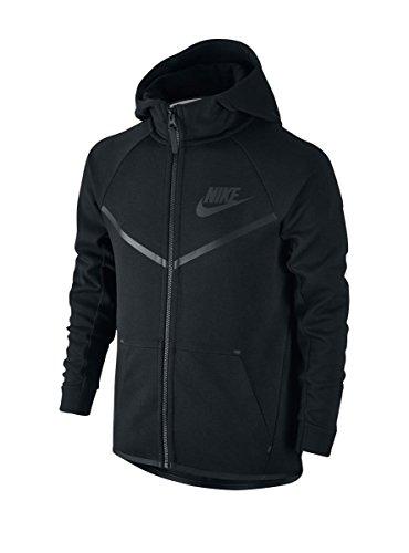 Nike Boy's Sportswear Tech Fleece Windrunner Hoodie Black/Black Small
