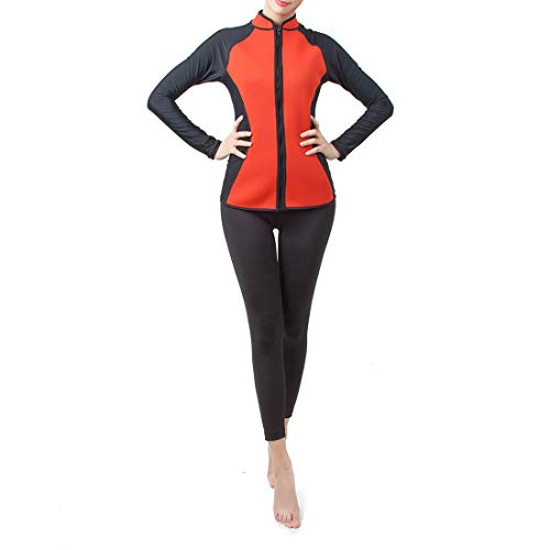 水着 レディース サーフィン ファスナー 保温性優れる ダイビング 日焼け止め 吸汗速乾  防寒 (Color : レッド, サイズ : S)