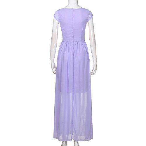 FORUU Fashion Women Summer Casual Solid Chiffon V Neck Evening Party Long  Dress (XXX- 477a4ac563a1