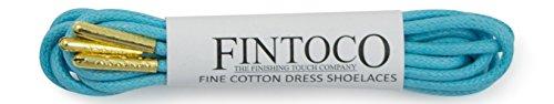 Fintoco Ronde Robe De Designer Ciré Lacets De Chaussures Avec Des Conseils En Métal Bleu Aqua Avec Des Pointes Dor