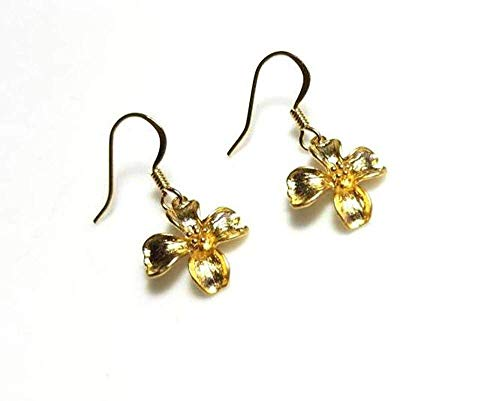 (Gold Flower Earrings of Dogwood Blossom, Hypoallergenic or Nickel Free Ear Wires)