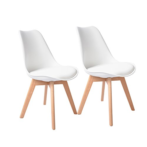 Buschman Set of Two White Eames-Style Mid Century Modern Dining Room Wooden Legs Soft Padded Chairs