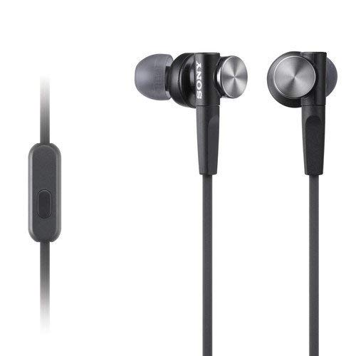 Sony Premium Lightweight Extra Bass Earbud Headphones with In-line Microphone and Remote for Android Smartphone (Black)