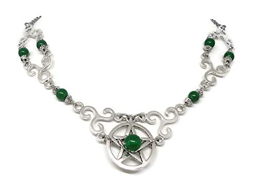 Pagan Necklace with Pentagram - Wiccan Jewelry with triskele - Celtic Necklace, Pentacle and Jade Beads