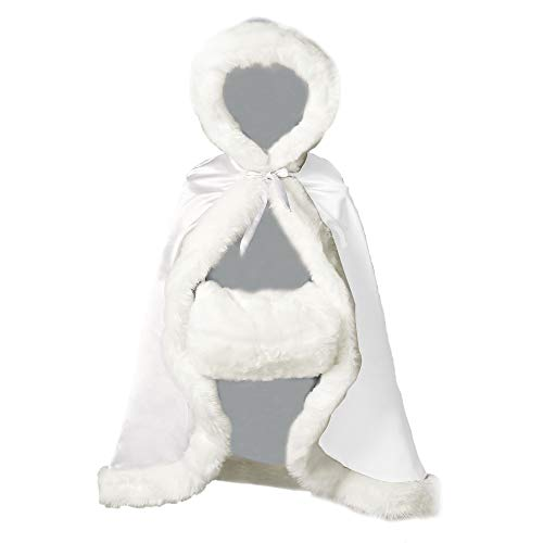 BEAUTELICATE Flower Girl Cape Winter Wedding Cloak for Infant Junior Bridesmaid Hooded Reversible White -