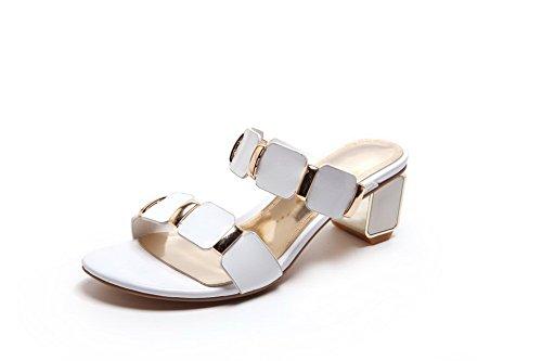 The Cute Kid Promo Code (BalaMasa Girls Kitten-Heels Open-Toe White Cow Leather Sandals - 4.5 B(M))