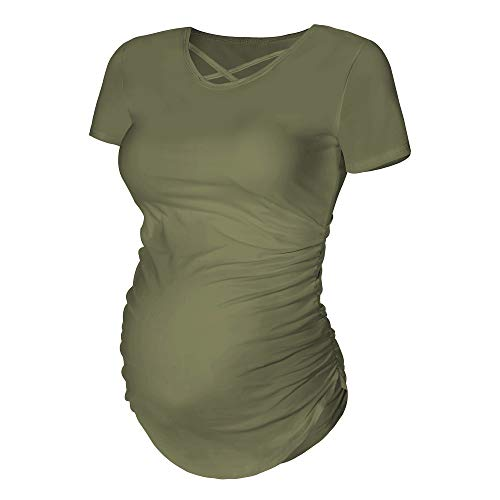 Rnxrbb Womens Short Sleeve Maternity Shirts Ruched Maternity T-Shirt Top Cacual Pregnancy ()