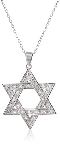 Large Star Of David Pendant - Sterling Silver and Cubic Zirconia Large Star of David Pendant Necklace, 18