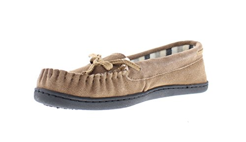 Brown Striped Fleece (Gold Toe Premier Women's Kierra Genuine Suede Striped Fleece Lined Slip On Moccasin Slipper Cognac XL)
