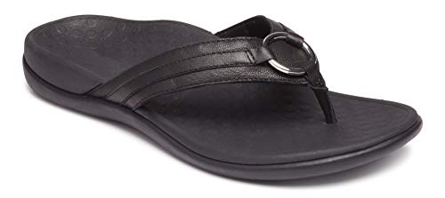 Ladies Black Leather Sandals Heels - Vionic Women's Tide Aloe Toe-Post Sandal - Ladies Flip- Flop with Concealed Orthotic Arch Support Black Leather 7 M US