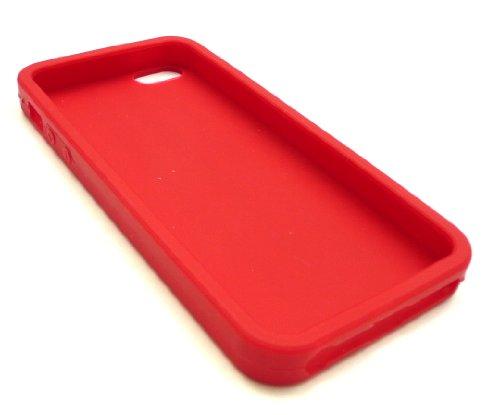 Emartbuy ® Pack Stylet Pour Apple Iphone 5 Mini Metallic Rouge Stylus + Tyre Tread Silicon Skin Cover / Case Rouge + Protecteur D'Écran Lcd