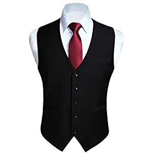 HISDERN Men's Formal Wedding Party Waistcoat Cotton Solid Color Vest