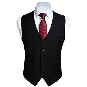 HISDERN Men's Formal Wedding Party Waistcoat Cotton Solid Color Vest