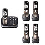 Panasonic KX-TG6545SK DECT 6.0 PLUS Expandable Digital Cordless Phone with Answering System, Black, 5 Handsets, Office Central