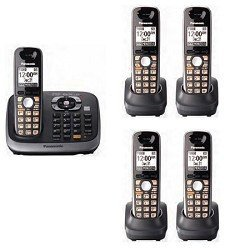 Panasonic KX-TG6545SK DECT 6.0 PLUS Expandable Digital Cordless Phone with Answering System, Black, 5 Handsets