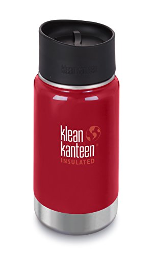 Klean Kanteen Insulated Wide Stainless Steel Coffee Mug with Café Cap 2.0, Brushed Stainless , 20 oz