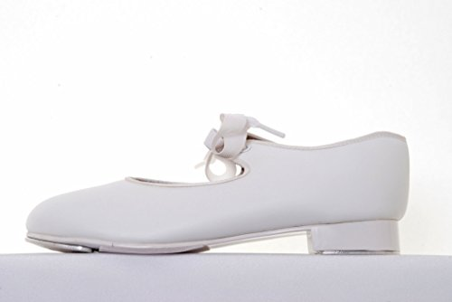 Capezio 925 PU Tyette Low Heel Tap - White - Wide Fit - 8 child to 13.5 child White rm8xhDOeO