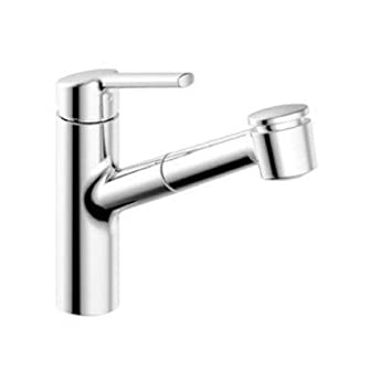 KWC Faucets 10.441.033.127 LUNA E Pull Out Spray Kitchen Faucet, Splendure  Stainless Steel