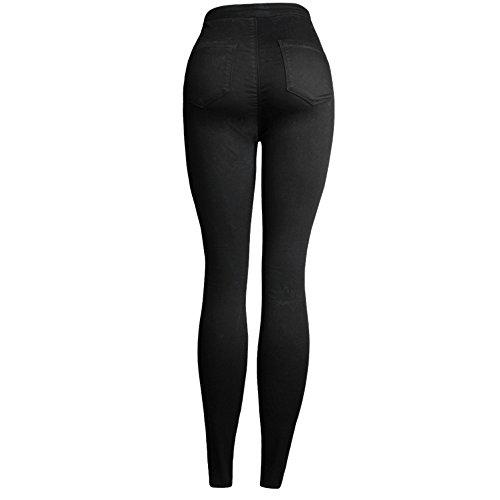Denim Grossartig Black Pantaloni Nero Elasticizzati Da Ricamato Donna Foro qRgwfvq