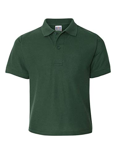 Sleeve Youth Pique Polo - JZ EASYCARE YOUTH SPORT SHIRT, FOREST GREEN, M
