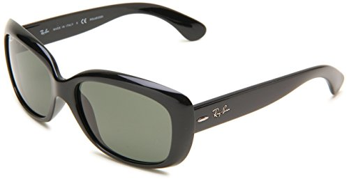 Ray-Ban 0RB4101 Square Sunglasses,Black Frame/Lens:Polarized Gray-Green Lens,One Size (Ray Bans Jackie Ohh)