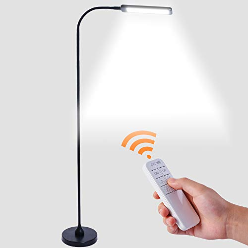 LED Modern Floor Lamps 5-Level Brightness and Color Temperature Dimmable Touch and Remote Control LED Study Lamps for Bedroom and Office
