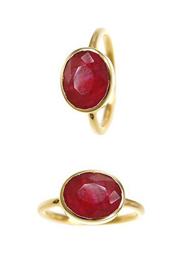 Oval Gemstone Stackable Ring - Ruby Rings - Oval Gold Plated Sterling Silver Rings - Stackable Bezel Gemstone Rings