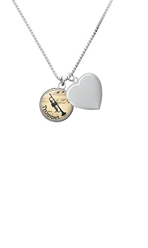 Domed Music - Trumpet Heart Locket Necklace, (John Wind Heart Necklace)