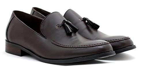 Gb Diseñador Mocasines Hombre Trabajo Vestido Número Cierres Café Zapatillas Para Inteligentes Sin Modernas Borla Casual qaaFBXOw