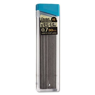 Super Hi-Polymer Lead Refills, 0.7mm, HB, Black, 30 Leads/Tube, Total 432 PK by Pentel