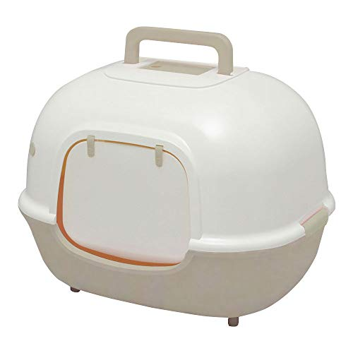 Iris Ohyama cat Toilet with Front Opening and Shovel – Hooded Cat Litter Box – WNT-510, Plastic, Beige, 51 x 40 x 39 cm