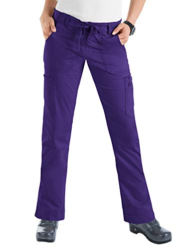 KOI Women's Stretch Lindsey Mid-Rise Drawstring Waist Cargo Scrub Pants, Grape, X-Large