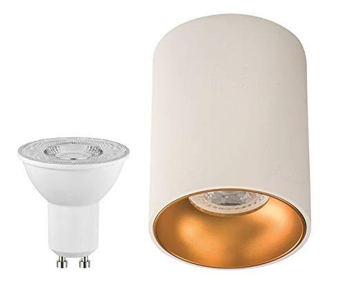 Lámpara de techo LED ORO de color blanco y dorado, moderna ...