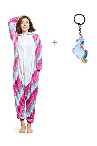 NOUSION Licorne Unisex Adult Pajamas, Cosplay Christmas Unicorn Sleepwear Onesies Outfit (XL, Sky Unicorn New) -