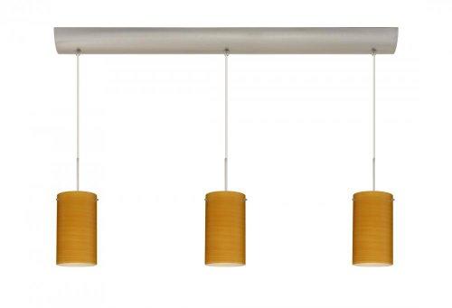 Besa Lighting 3BV-4404BK-SN Stilo 7 3-Light Linear Pendant, Satin Nickel Finish and Black Matte Art Glass Shades