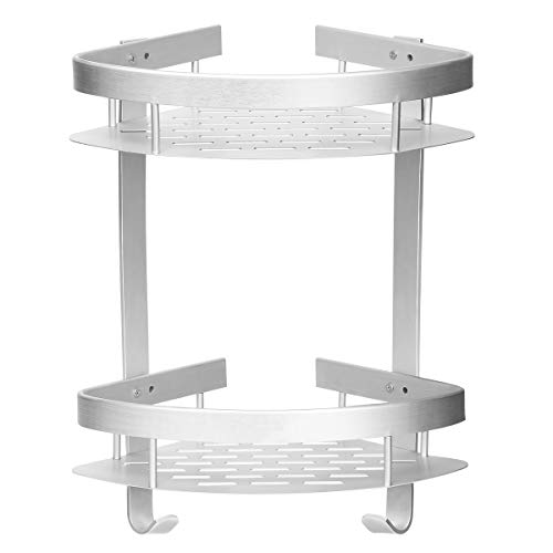 HOMEIDEAS Bathroom Shelf Durable Aluminum Shower Caddy, Kitchen Storage Shelves with Hooks, 2 Tiers Corner Adhesive Shelves, No Drilling by HOMEIDEAS